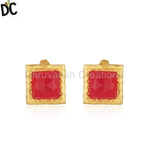 Handmade Brass Fashion Pink Chalcedony Gemstone Stud Earring for Girls
