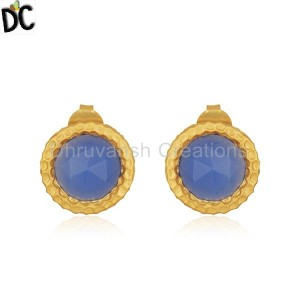 Round Blue Chalcedony Gemstone Gold Plated Brass Fashion Stud Earrings
