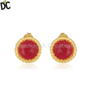 Handmade Gold Plated Brass Fashion Round Pink Chalcedony Stud Earrings