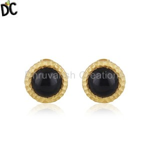 Black Onyx Gemstone Gold Plated Brass Fashion Stud Earrings for Girls