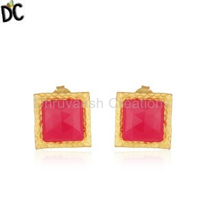 Handmade Square Brass Fashion Pink Chalcedony Gemstone Stud Earrings