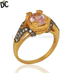 22K Yellow Gold Plated Brass Pink Cubic Zirconia Womens Fashion Ring