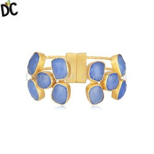 Handmade Brass Gold Plated Fashion Gemstone Cuff Bracelet Wholesaler