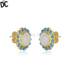 Mutli Gemstone Gold Plated Brass Fashion Stud Earrings Manufacturer