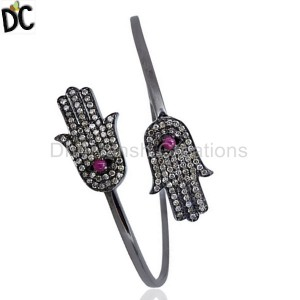 925 Sterling Silver Diamond Bracelet Cuff Wholesale from India
