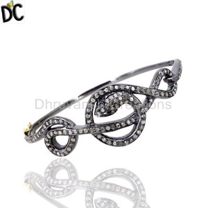 925 Sterling Silver Diamond Bracelet Bangle Supplier from India