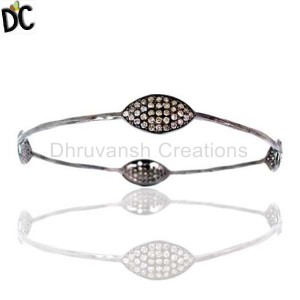 925 Sterling Silver Diamond Bracelet Bangle Manufacturer from India