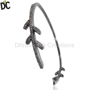 925 Sterling Silver Diamond Bracelet Cuff Manufacturer from India