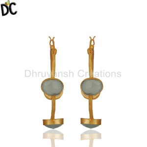 Aqua Chalcedony Gemstone Gold Plated Brass Hoop Earrings Wholesale from India