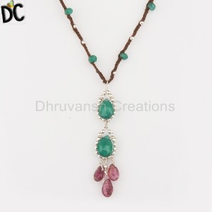Pink Tourmailne and Green Onyx Gemstone 925 Silver Macrame Necklace