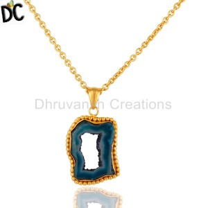 Handmade Blue Agate Druzy Slice Yellow Gold Plated Pendant With Chain