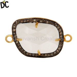 Natural Crystal Quartz Pave Diamond Sterling Silver Connector With Gold Plated