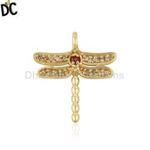 Diamond and Ruby Birthstone Butterfly Charm Gold Silver Charm Findings Supplier