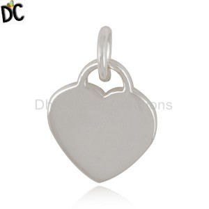 Handmade Plain Fine Sterling Silver Heart Design Charm Jewelry Finding
