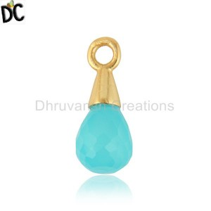Natural Aqua Chalcedony Gemstone Gold Plated Silver Charm Finding