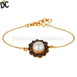 Natural Pearl and Diamond Gold Plated Silver Bracelet Manufacturer