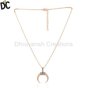 Rose Gold Plated Silver Natural Diamond Set Half Moon Chain Pendant