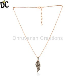 Feather Design Rose Gold Plated Sterling Silver Pave Diamond Pendant