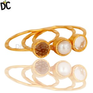 18K Gold Plated Brass Fashion Gemstone Crystal Pearl Smokey Topaz Three Set Ring Manufacturer