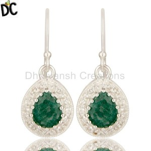 Emerald Stone Silver Earring Topaz jewelry manufacturers Manufacturer