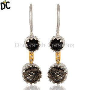 925 Silver Rutile Black Gemstone Pave Diamond Solid Gold Earring