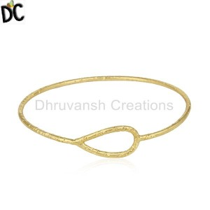 Handcrafted Sterling 92.5 Silver Gold Plated Sleek Womens Bangle