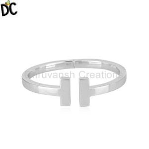 Handmade Bar Design 925 Sterling Silver Rhodium Plated Cuff Bracelet