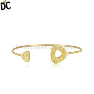 White Zircon Handmade Gold Plated Sterling 925 Silver Cuff Bracelet