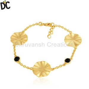 Wavy Disc Design 18k Gold Plated 925 Silver Girls Bracelet Jewelry