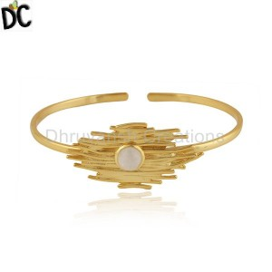 Rainbow Moonstone Gemstone Designer Gold Plated Silver Cuff Bangle