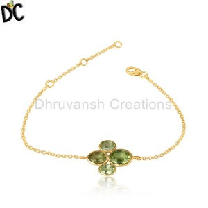 Peridot Gemstone Designer Yellow Gold Plated Silver Chain Bracelet