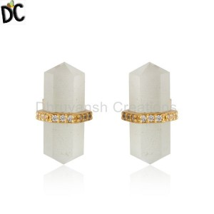 CZ White Moonstone Pencil Design Gold Plated Silver Stud Earrings