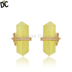 Pencil Cut Yellow Moonstone Designer Gold Plated Silver Stud Earring
