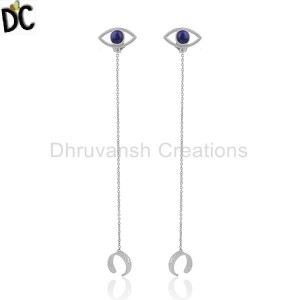 Fine Sterling Silver Evil Eye Design Gemstone Ear Cuff Earring Wholesale