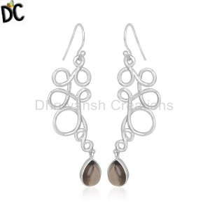Smoky Quartz Handmade 925 Sterling Silver Earrings Wholesale