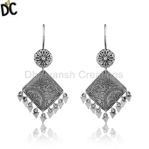 Hand Craved Design Black Oxidized Designer Sterling Silver Earrings