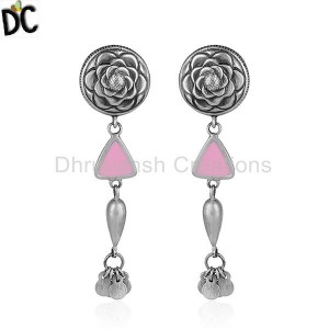 Pink Color Enamel Oxidized Design Sterling Silver Earrings Jewelry