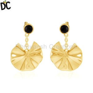 Blck Onyx Gold Plated Silver Wavy Disc Design Dangle Earrings Jewelry