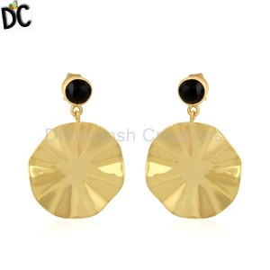 Black Onyx Gemstone Wavy Disc Gold Plated Silver Earrings Jewelry