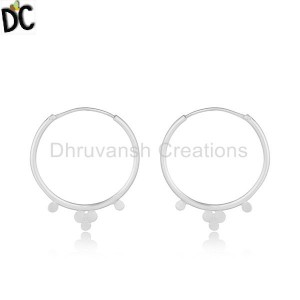 Handmade Sterling Fine Silver Bali Hoop Design Earrings Jewelry