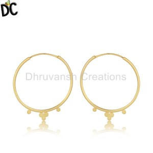 Handmade Yellow Gold Plated Designer Silver Hoop Bali Earrings