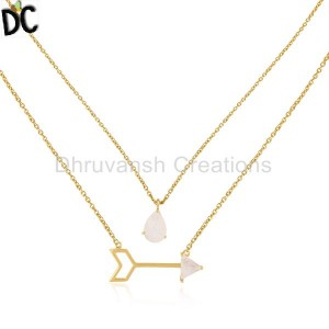 Arrow Design 925 Silver Gold Plated Rainbow Moonstone Chain Pendant Necklace