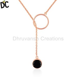 Black Onyx Gemstone Silver Rose Gold Plated Chain Ring Necklace