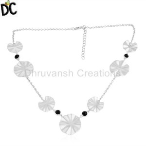 925 Fine Silver Wavy Disc Design Black Onyx Gemstone Necklaces Jewelry