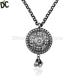 Indian Tribal Silver Oxidized Designer Chain Pendant Jewelry