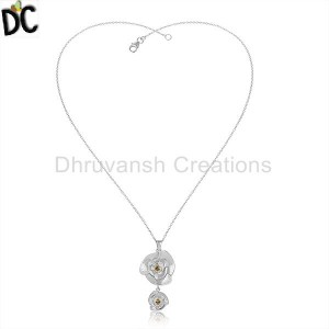 Rose Design 925 Sterling Silver Citrine Gemstone Chain Necklaces