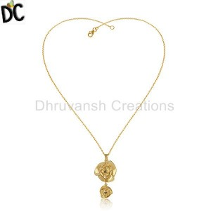 Rose Flower Design Gold Plated Silver Citrine Gemstone Necklaces