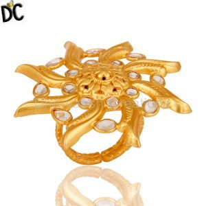 18k Yellow Gold Plated Sterling Silver Flower Design Ring with White Zircon