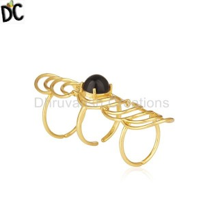 Black Onyx Gemstone Gold Plated Sterling Silver Designer Knuckle Rings