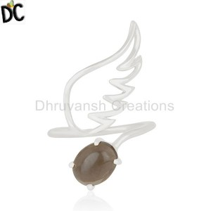 New Arrival Natural Smoky Quartz Gemstone Angel Wing Ring Jewelry Supplier